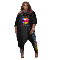 Women's Black Plus Size Pant Set 3/4 Length Sleeve Lips Printed Pattern Fall Set