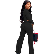 Solid Color Black Umbilical Tying Bandage Round Neck Crop Top 2 Piece Set For Fall