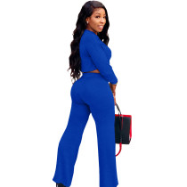 Solid Color Royal Blue Umbilical Tying Bandage Round Neck Crop Top 2 Piece Set For Fall