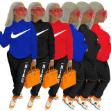 2021 Boutique Clothing Women Black Sports Embroidery Letter 2 Piece Set Hoodie