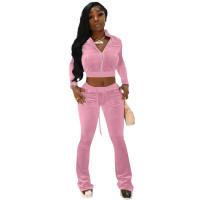 Autumn Winter Pink Velvet Sports Sweatshirt Crop Top and Trousers
