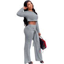 Solid Color Grey Umbilical Tying Bandage Round Neck Crop Top 2 Piece Set For Fall