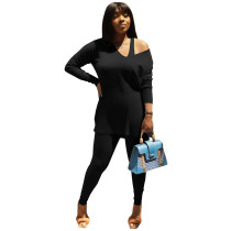 Autumn and Winter Black Double-sided Fleece Drop Cold Shoulder Two Piece Ladies Set