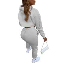 Light Gray Cotton Fleece Drawstring Jogging Tracksuit  Hollow Hoodie Blouse Pants Set and Vest