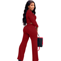 Solid Color Wine Red Umbilical Tying Bandage Round Neck Crop Top 2 Piece Set For Fall