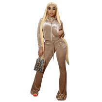 Solid Color Rose High Neck Zipper Crop Top & Drawstring Flared Pants with 4 Pocket