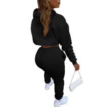 Black Cotton Fleece Drawstring Jogging Tracksuit  Hollow Hoodie Blouse Pants Set and Vest