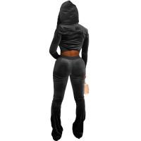 Black Velour Winter Clothes Autumn Winter Velvet Hooded Casual Pants Sets For Women