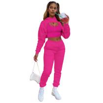 Rose Cotton Fleece Drawstring Jogging Tracksuit  Hollow Hoodie Blouse Pants Set and Vest