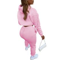 Pink Cotton Fleece Drawstring Jogging Tracksuit  Hollow Hoodie Blouse Pants Set and Vest