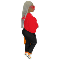 2021 Boutique Clothing Women Red Sports Embroidery Letter 2 Piece Set Hoodie