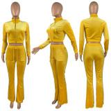 Autumn Winter Yellow Velvet Sports Sweatshirt Crop Top and Trousers