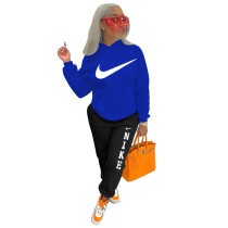 2021 Boutique Clothing Women Blue Sports Embroidery Letter 2 Piece Set Hoodie