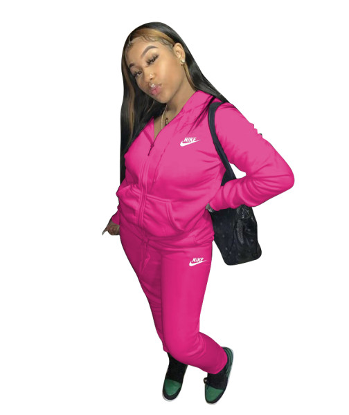 Casual Pink Nike Clothes Lounge Wear Sports Embroidery Hoodie Women Sweat Suit Set