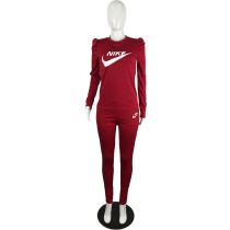 Wine Red Designer Clothes Offset Printing Sports Matching Outfits