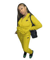 Casual Yellow Nike Clothes Lounge Wear Sports Embroidery Hoodie Women Sweat Suit Set
