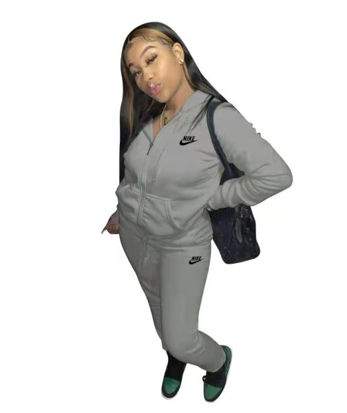 Casual Grey Nike Clothes Lounge Wear Sports Embroidery Hoodie Women Sweat Suit Set