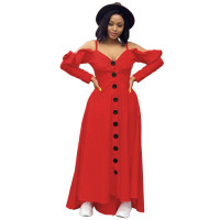 Casual Red Sweet Solid Joint Buckle Flounce Spaghetti Strap Maxi Dresses