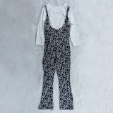 Two Piece Set Solid Color White T-shirt Straps Printed Jumpsuit