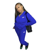 Casual Blue Nike Clothes Lounge Wear Sports Embroidery Hoodie Women Sweat Suit Set