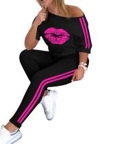 Casual Sports Two Piece Lip Print Women Set