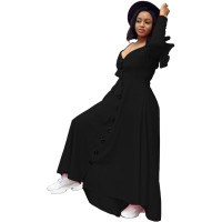 Casual Black Sweet Solid Joint Buckle Flounce Spaghetti Strap Maxi Dresses