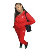 Casual Red Nike Clothes Lounge Wear Sports Embroidery Hoodie Women Sweat Suit Set