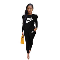 Black Designer Clothes Offset Printing Sports Matching Outfits