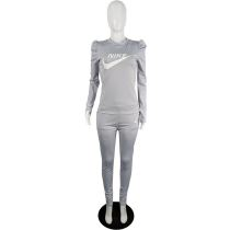 Grey Designer Clothes Offset Printing Sports Matching Outfits
