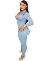 Solid Color Turn-down Neck Two Piece Women's Clothing