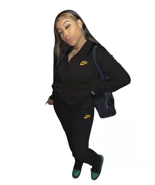 Casual Black Nike Clothes Lounge Wear Sports Embroidery Hoodie Women Sweat Suit Set