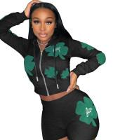 Women's Fashion Casual Black Printed Pattern Sports Two Piece Hoodies Set