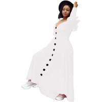 Casual White Sweet Solid Joint Buckle Flounce Spaghetti Strap Maxi Dresses