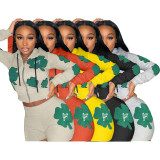 Women's Fashion Casual Grey Printed Pattern Sports Two Piece Hoodies Set
