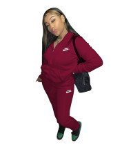 Casual Wine Red Nike Clothes Lounge Wear Sports Embroidery Hoodie Women Sweat Suit Set