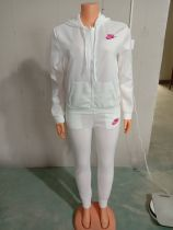 Casual White Nike Clothes Lounge Wear Sports Embroidery Hoodie Women Sweat Suit Set