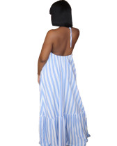 Backless Sexy Halter Striped Long Dress