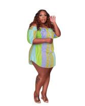 Plus Size Color Striped Off The Shoulder Irregular Mini Dress