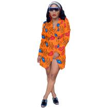 Casual Orange Lip & Letter Print Turn-Down Collar Long Coat
