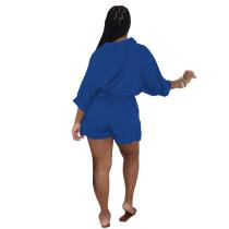 Solid Color Blue Convertible Collar Ruffled Short Romper