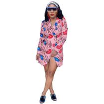 Casual Pink Lip & Letter Print Turn-Down Collar Long Coat