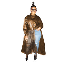 Brown Winter Women's Wear Big Collar PU leather Coat with Mesh Leather Jacket