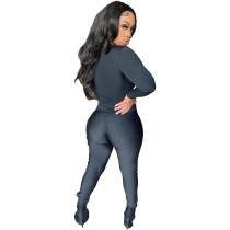 Autumn Pure Color Black Sports Blouse Flared Pants Set
