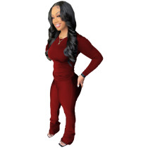 Autumn Pure Color Wine Red Sports Blouse Flared Pants Set