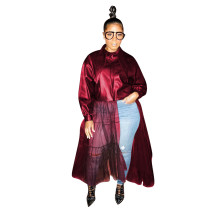 Wine Red Winter Women's Wear Big Collar PU leather Coat with Mesh Leather Jacket