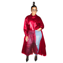 Red Winter Women's Wear Big Collar PU leather Coat with Mesh Leather Jacket