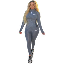 Casual Gray-black Printed High Neck Zipper 2 Piece Sweatpants Set