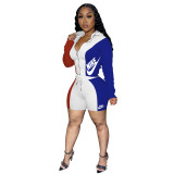 Women Hooded Contrast Color Printed Cardigan Women Clothes Set with Zipper