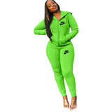 Casual Fluorescent Green Embroidery Letter Cardigan Pant Set with Hat