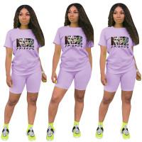 Fashion Purple Ladies Shorts Tracksuit Printed Avatar Women Short Sets